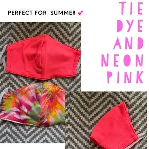 2 for 15 Tie dye and neon pink Handmade Face masks